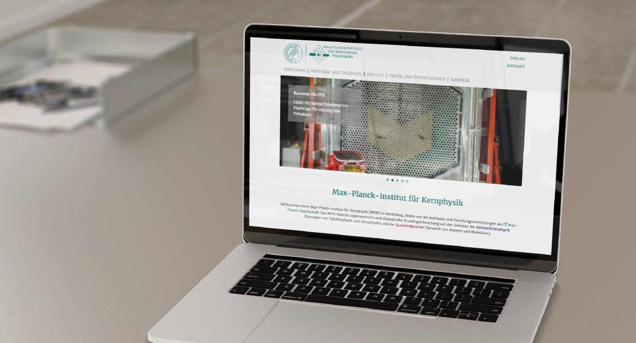 Ansicht Website Max-Planck-Institut für Kernphysik Heidelberg.