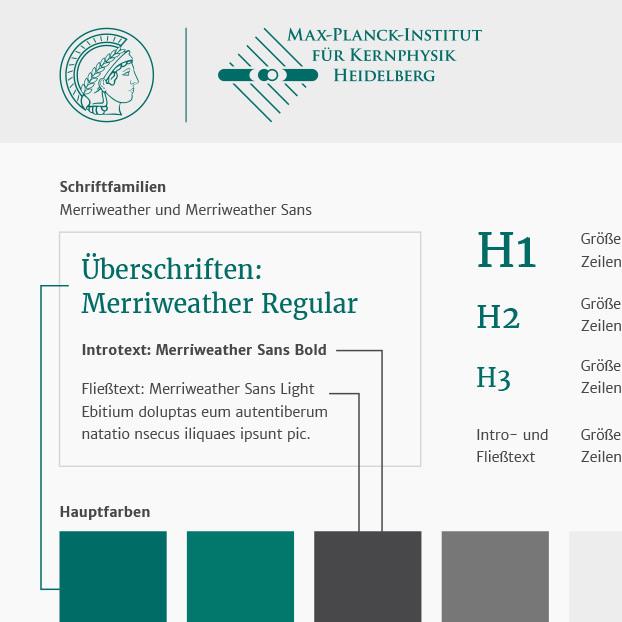 Design, Visualisierung und Struktur der Website des Max-Planck-Instituts für Kernphysik Heidelberg.
