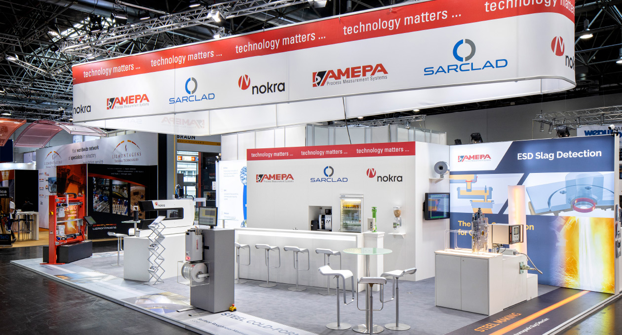 Messestand/Konzeptstand von AMEPA bei METEC 2019 in Düsseldorf.