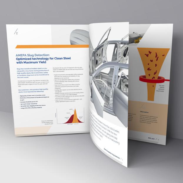 Einsicht der Broschüre von AMEPA. AMEPA Slag Detection.