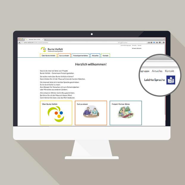 Webdesign Bathildesheim mit Zoom auf Leichte Sprache.
