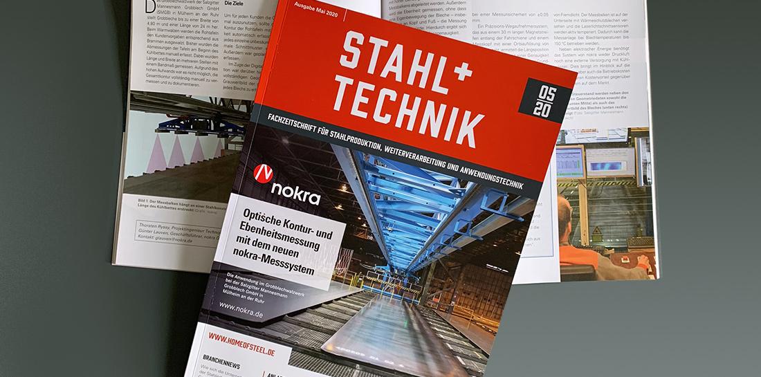 Fachzeitschrift Stahl und Technik mit unserem Kunden Nokra auf der Titelseite.