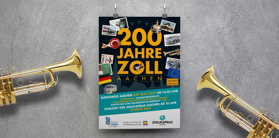 etcetera unterstützt die Zollkapelle Aachen mit Werbemaßnahmen zum dritten Jahr in Folge. Für das Benefizkonzert entwarfen wir das Werbeposter, Postkarten und Einladungen.