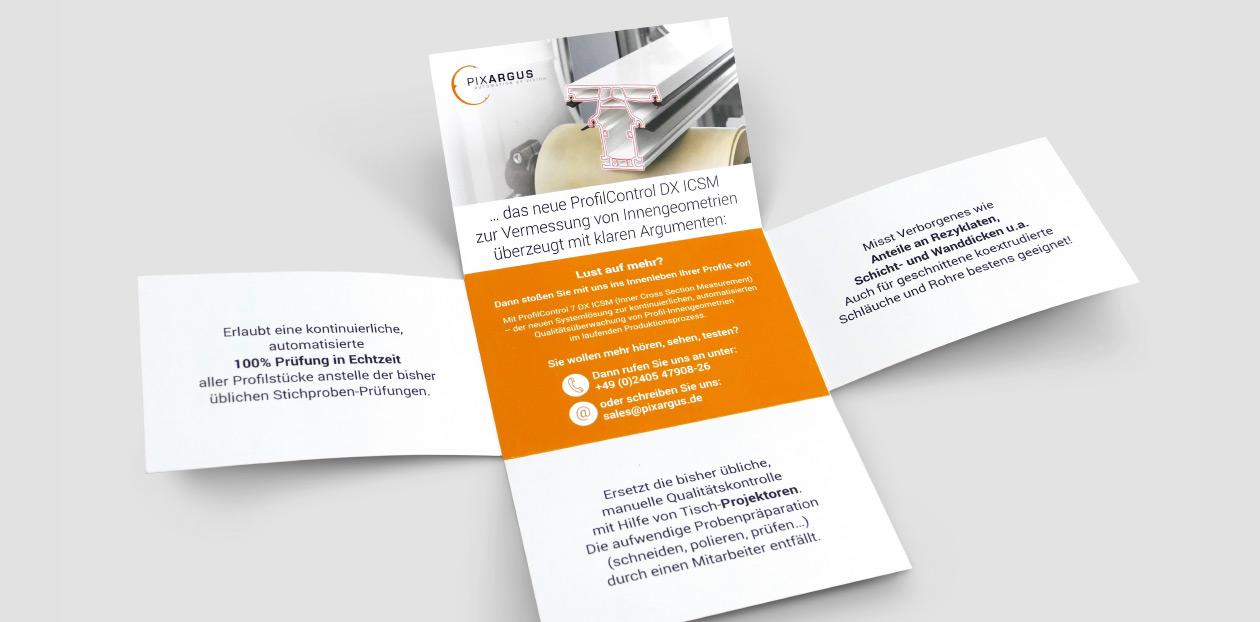Flyer PIXARGUS zum neuen ProfilControl DX ICSM zur Vermessung von Innengeometrien.