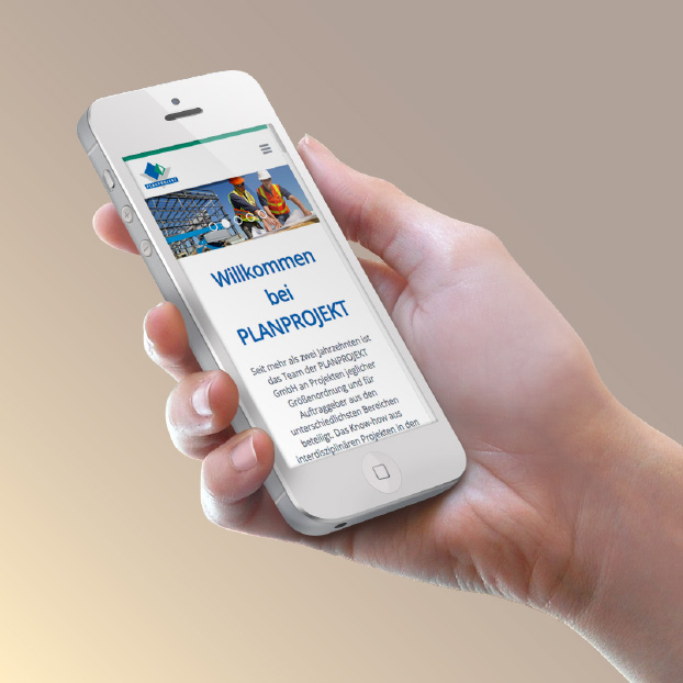 Webdesign Planprojekt auf dem Smartphone