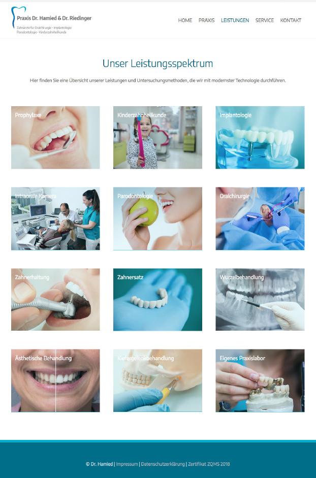 Ansicht der Website der Zahnarztpraxis Dr. Hamied und Dr. Riedinger.