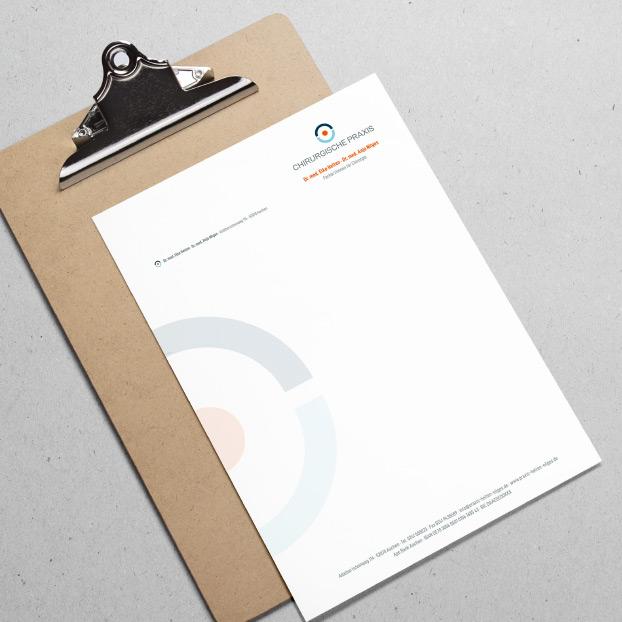 Briefbogen mit Corporate Design von Dr. Elke Helten und Dr. Anja Nilges.