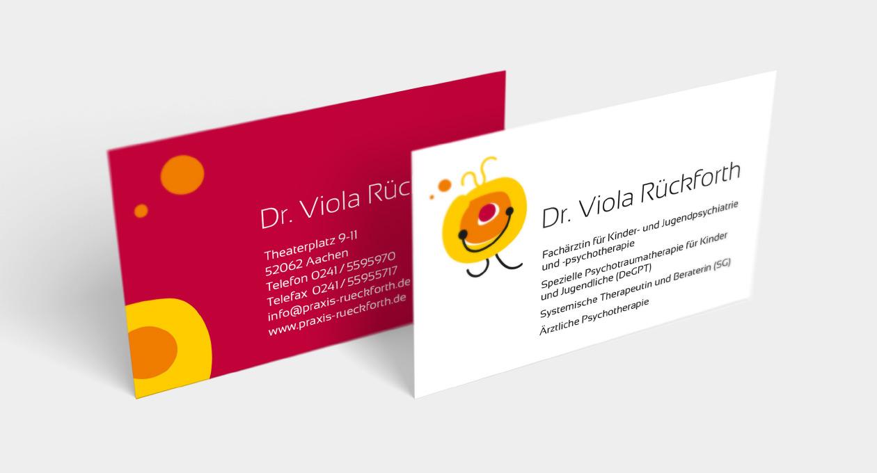 Visitenkarte von Dr. Viola Rückforth. Ansicht beider Seiten.