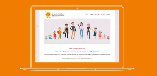 Ansicht der Website der Praxis von Dr. Viola Rückforth auf einem Laptop.