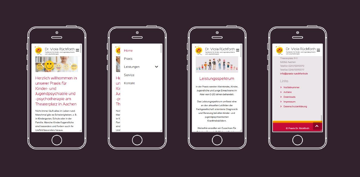 Smartphoneansicht der verschiedenen Unterseiten der Praxis von Dr. Viola Rückforth.