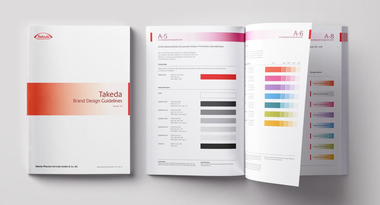 Broschüre Takeda. Brand Design Guidelines. Geschlossen und offen.