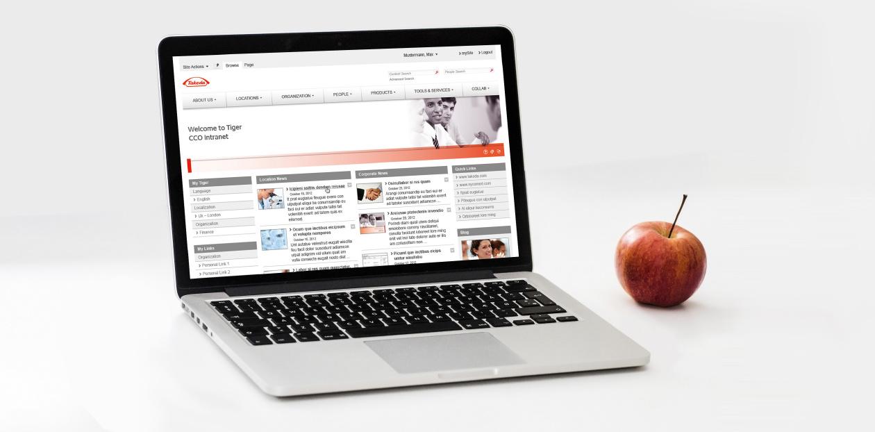 Webdesign Takeda auf einem Laptop.
