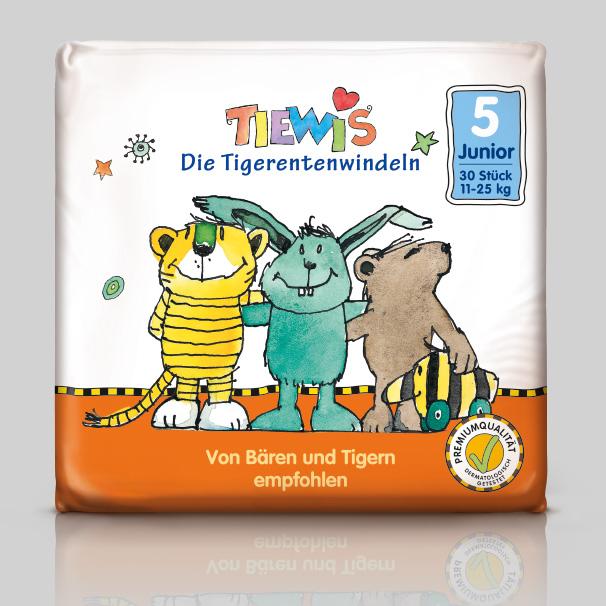 Verpackung Tiewis. Die Tigerentenwindeln.