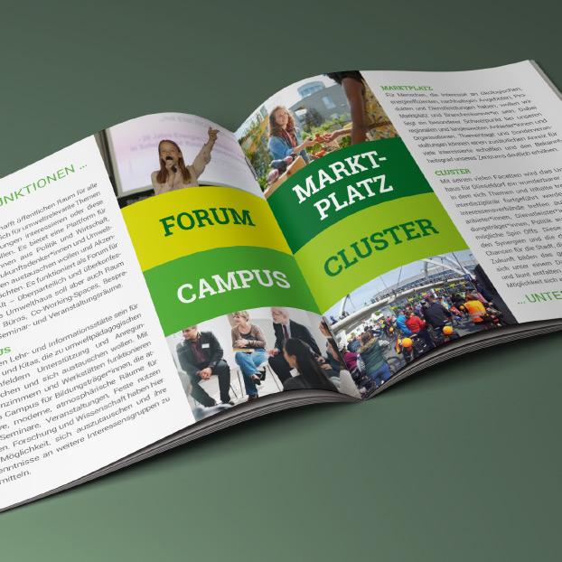 """Broschüre zu der Idee, den Chancen und Aufgaben der Initiative vom Verein """"Umwelt-ins-Zentrum""""."""