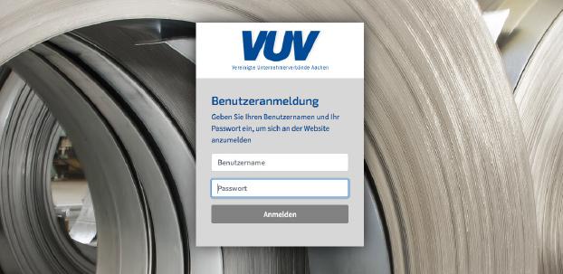 Vereinigte Unternehmenrverbände Aachen e.V. (VUV): Ansicht der Benutzeranmeldung.