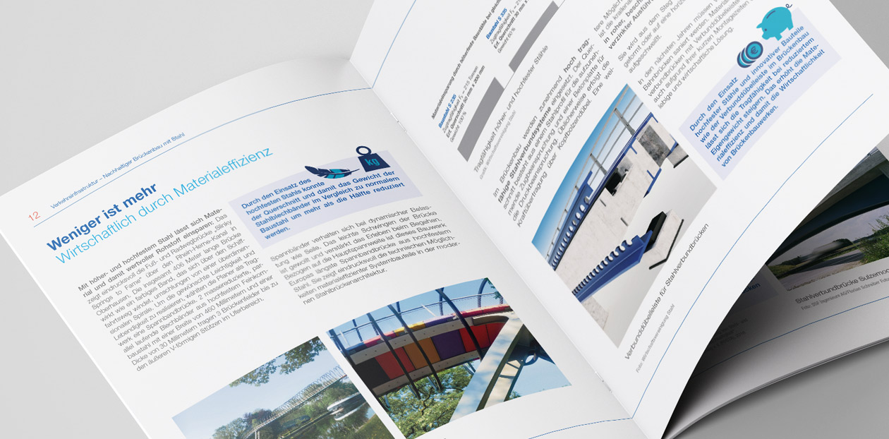 Einsicht der Broschüre der Wirtschaftsvereinigung Stahl. Nachhaltiger Brückenbau mit Stahl.